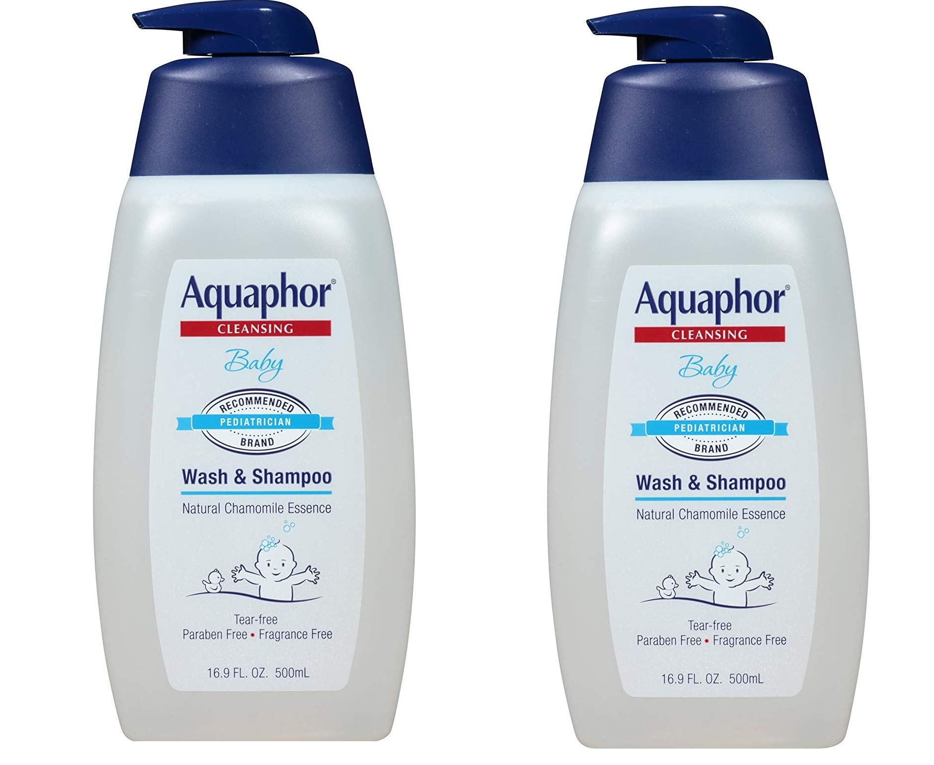 Aquaphor Baby Wash and Shampoo - Mild, Tear-free 2-in-1 Solution for Babyâ€s Sensitive Skin - 16.9 fl. oz. Pump, 2 Pack by Aquaphor