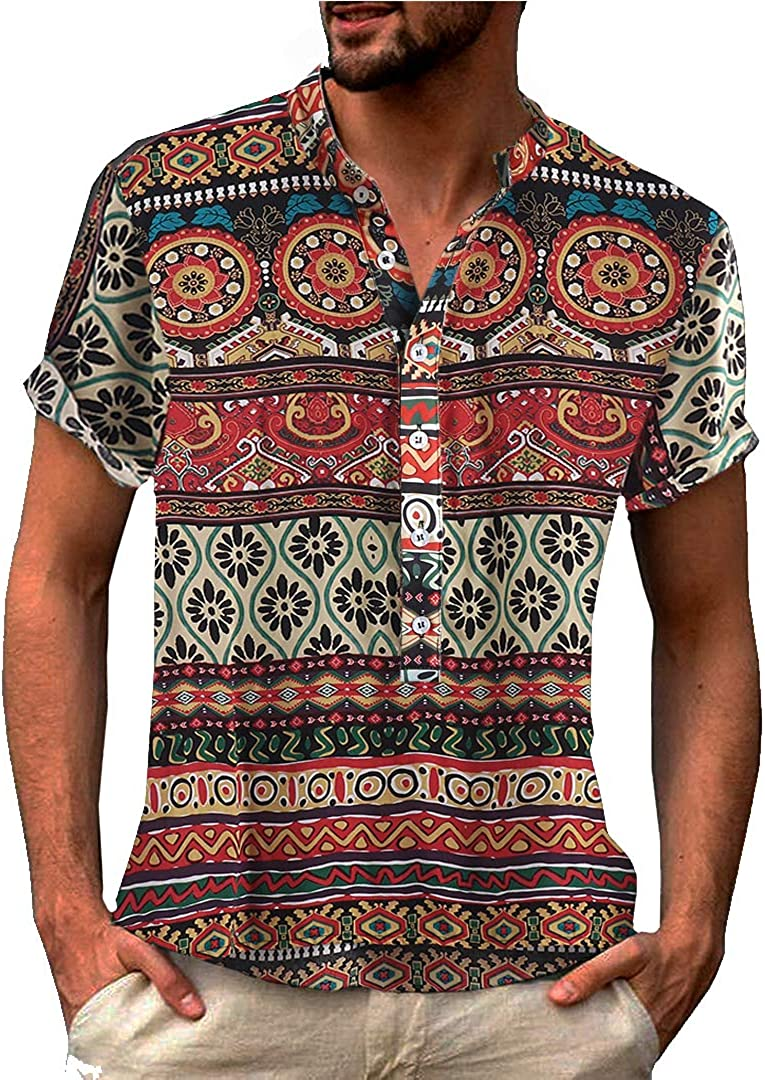 1960s – 70s Mens Shirts- Disco Shirts, Hippie Shirts COOFANDY Mens Slim Fit Hippie Shirt Long Sleeve Floral Print Casual Zip Up Cotton Beach Party Henley T Shirt $26.99 AT vintagedancer.com