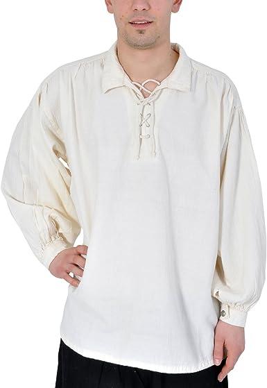 Imex-Moden Camisa Pirata con clásico Cuello Medieval Gótico Natural 295