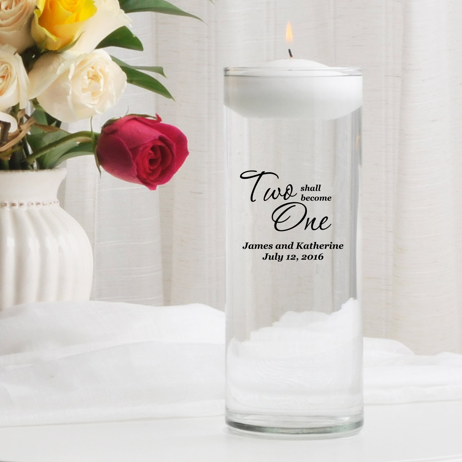 Personalized Floating Wedding Unity Candle- Two Shall Become One