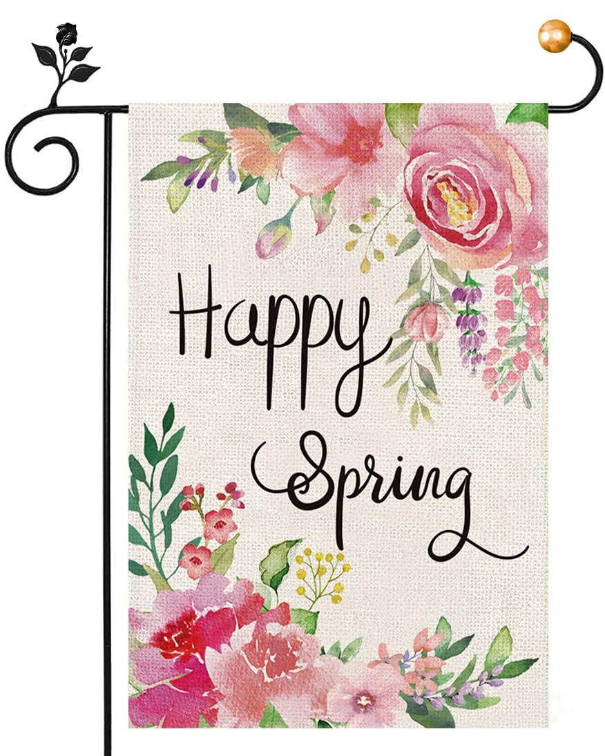 Spring Garden Flag 12 x 18 Inch, Happy Spring Peony Flower Garden Flag Double Sized, Spring Summer Garden Flag for Small Yard Decoration