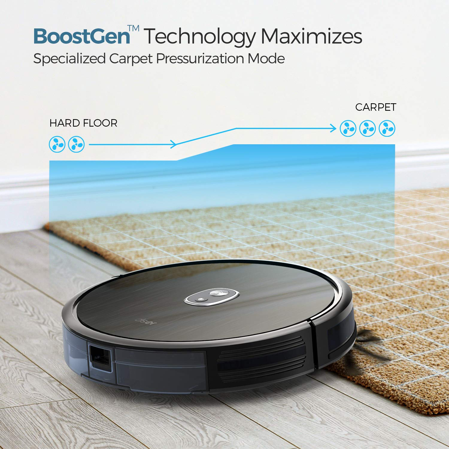 Dser RoboGeek 20T, Robot Vacuum Cleaner, 2.83 inch Super-Thin, Auto Boost and Self-Charging, 1600Pa Strong Suction, Infrared Anti-Drop Robotic Vacuums for Hard Floors and Carpets