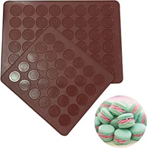Akingshop Silicone Macaron Baking Mats, 2 Non-Stick Silicone Baking Mats, Food Safe Baking Mat, Great For Macaron, Cookies, Bread, Pastry, Dessert (48Capavity + 30Capacity)