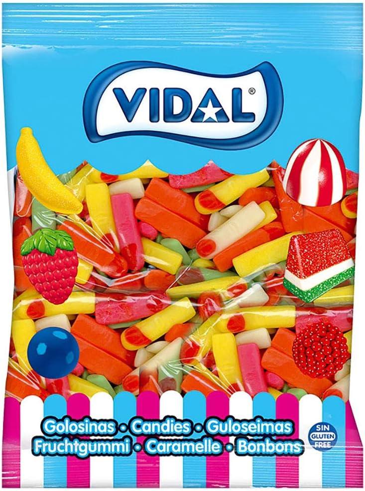 Vidal Golosinas. Dedos Surtidos. Caramelo de goma con un inconfundible sabor. Colores atractivos: Rosa, amarillo, naranja y verde. Bolsa 1,5 kg