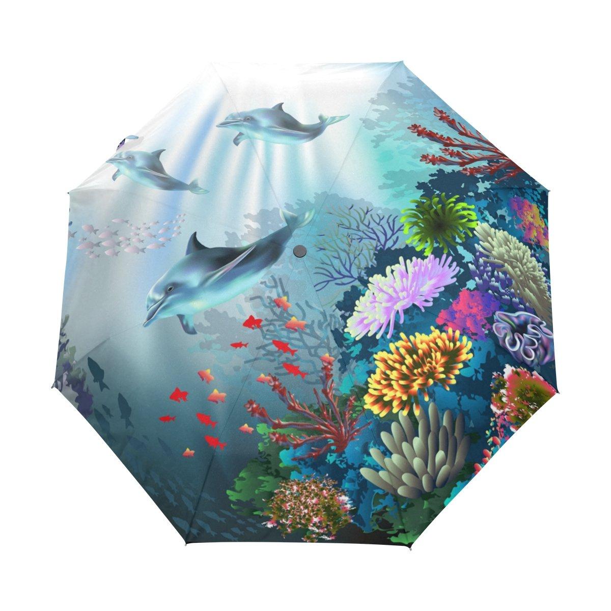太陽と雨コンパクトトラベル傘防風UV保護軽量ポータブルアウトドア折りたたみゴルフ傘Auto Open Close Folding Umbrellas外部Dolphins In Flowers B07B7JNJ4X