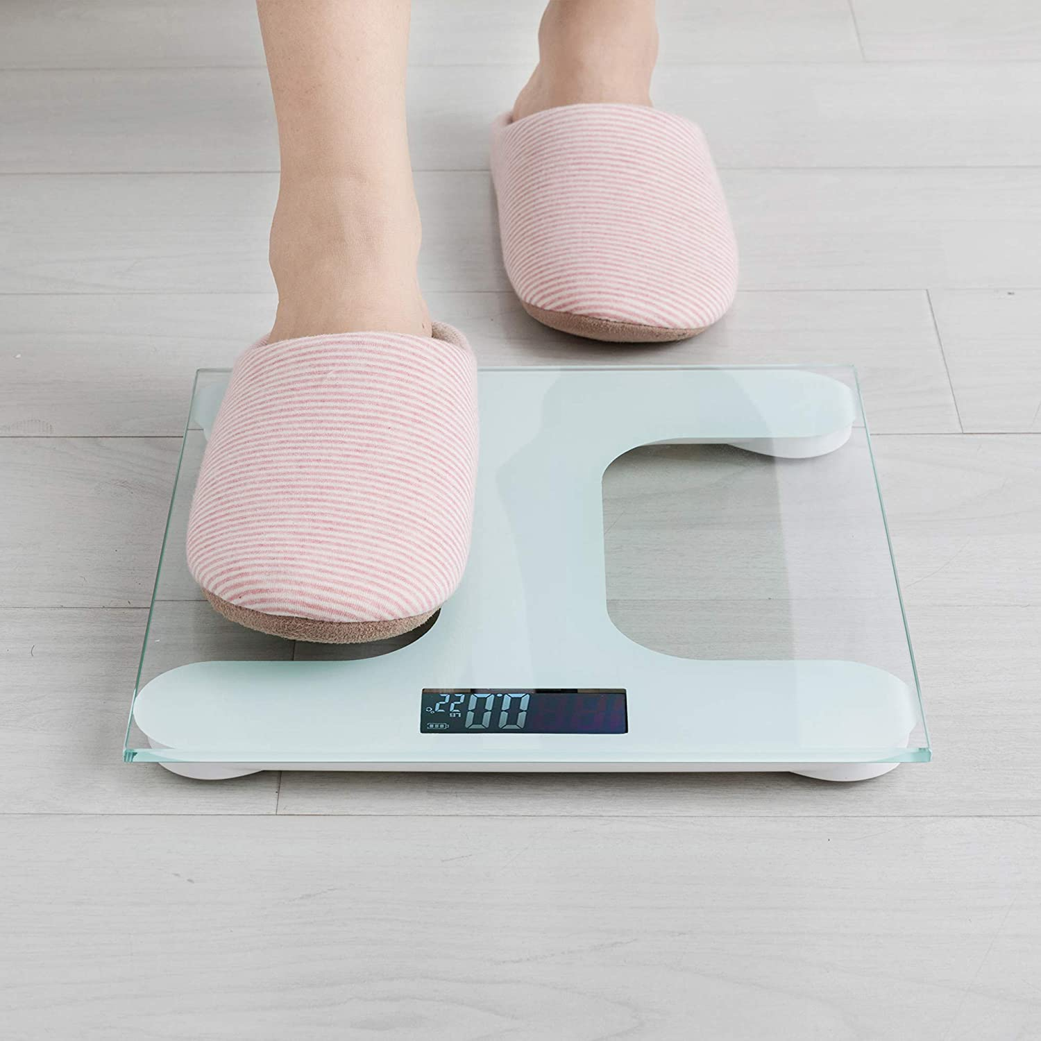 Precision Accuracy at 0.2 lb 6001 C3 White Digital Body Weight Scale with Step-on Technology Wide Range of 400 lb Large Glass Top