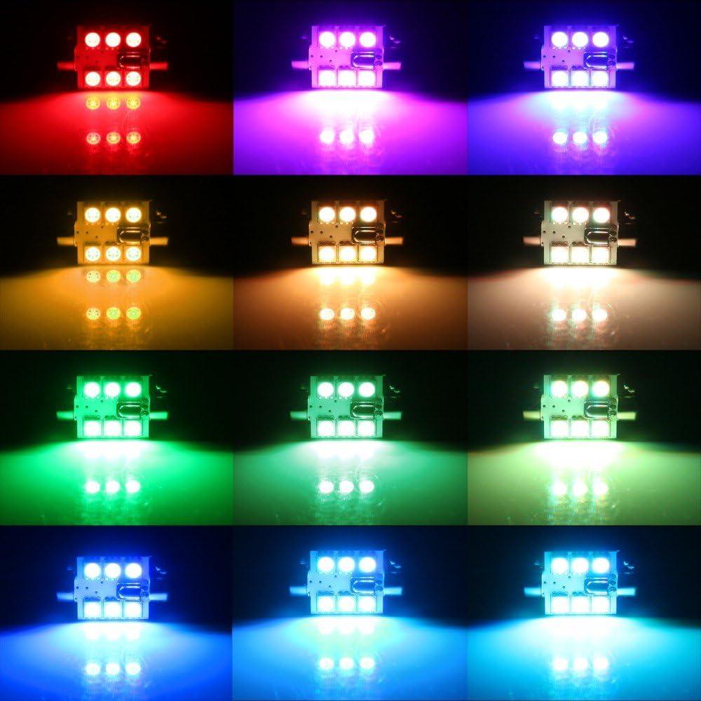 211-2 212-2 569 578 RGB Multicolored Non-Polarity Canbus Error Free Car Dome Led Festoon Bulbs 12V,Colorful Atmosphere Lamp Interior Bulbs Reading Map Light 1.61 AMAZENAR 2-Pack 41MM 1-Set