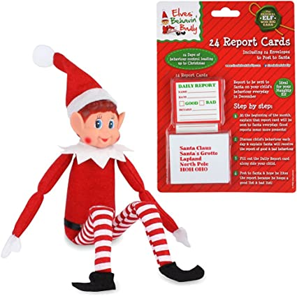 Amazon Com Ebuygb 12 Elf On A Shelf With 24 Report Cards Christmas Xmas Stocking Filler Toy Naughty Nice Santa Toys Games