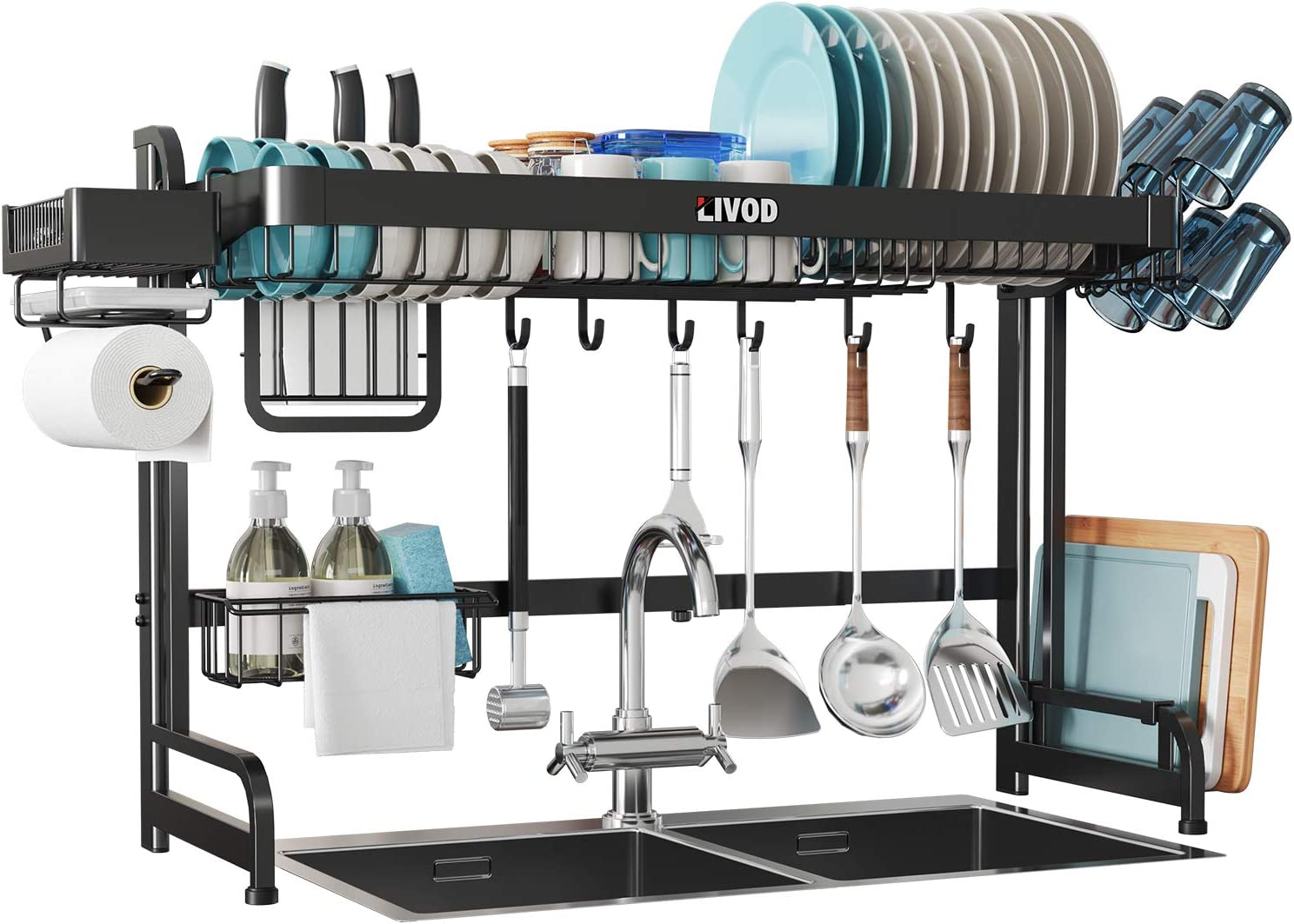 LIVOD Over the Sink Dish Drying Rack,Expandable Large Dish Rack and Drainboard Set,Stainless Steel Kitchen Sink Organizer Rack with Utensil and Paper Towel Holder (24.4≦Sink Size≦36.6 Inch) (Black)