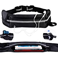 KEAFOLS Running Belt Fanny Pack, Phone Holder for running Bounce Free Flipbelt Running Waist Belt with Bottle Holder, Sweatproof/Ultra-Light/Stretchy for Women/Men/Kids/Jogging/Hiking/Cycling