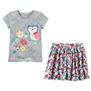 Carters Toddler Little Big Girls Short Sleeve Shirt and Skort Skirt Set (6-6x, Grey and Floral Owl)