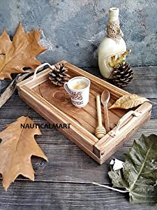 NauticalMart Wooden Tray, Rustic Wooden Tray, Food Photography Props,Serving tray, coffee table tray, Table Kitchen Vintage Decor