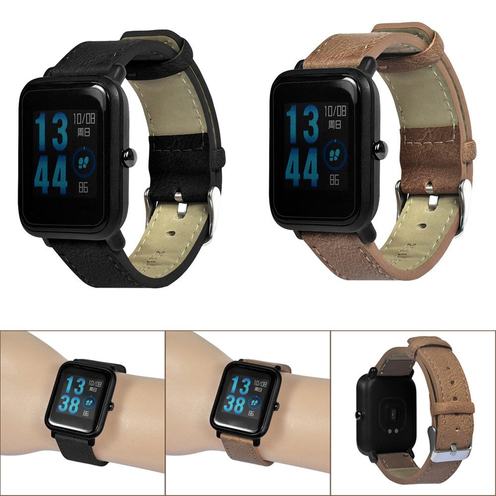 Compatible Xiaomi Huami Amazfit Bip Youth Watch Band Retro Leather Replacement Strap Replacement Bands for Huami Amazfit Bip Youth Watch, TLT Retail (Black) by TLT Retail (Image #1)