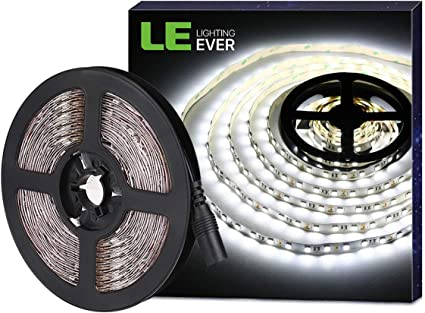 LE Tira LED, Tira Luz 5m 300 LED 5050, Blanco Frío 6000K No Impermeable, Con DC Enchufe, 3600 Lúmenes, Luz tira para Techo, Escaparate, Muebles, etc: Amazon.es: Hogar