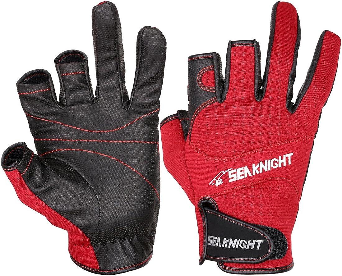 Jagen Sport Reiten zum Angeln rutschfest winddicht 3/freie Finger Angelhandschuhe Fahrradfahren Outdoor SeaKnight SK03 Neopren-Handschuhe