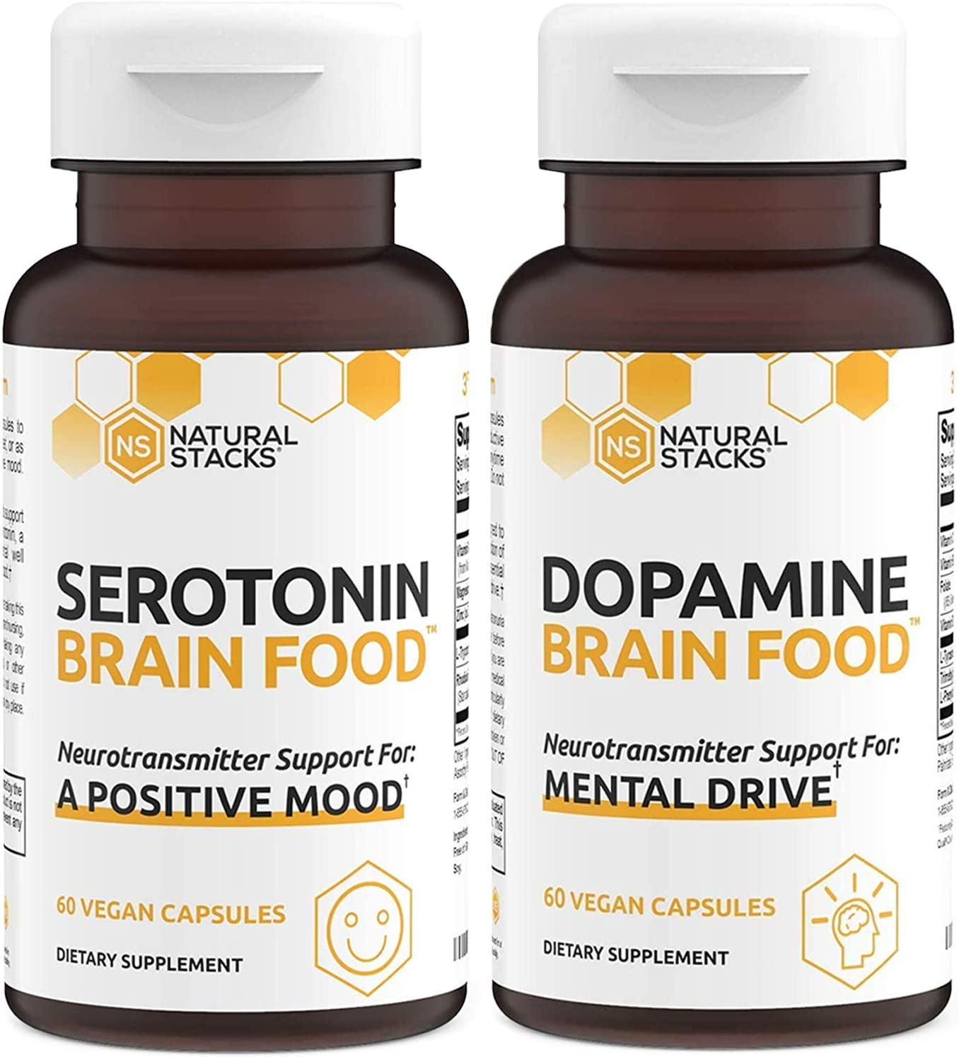 Natural Stacks Supplements - Brain Food Bundle - Dopamine (60ct) and Serotonin (60ct) - Increased Motivation and Alertness, Better Mood and Relaxation