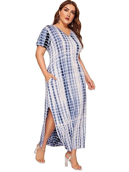 Romwe Women\'s Plus Size Tie Dye Split Maxi Dress with Pocket