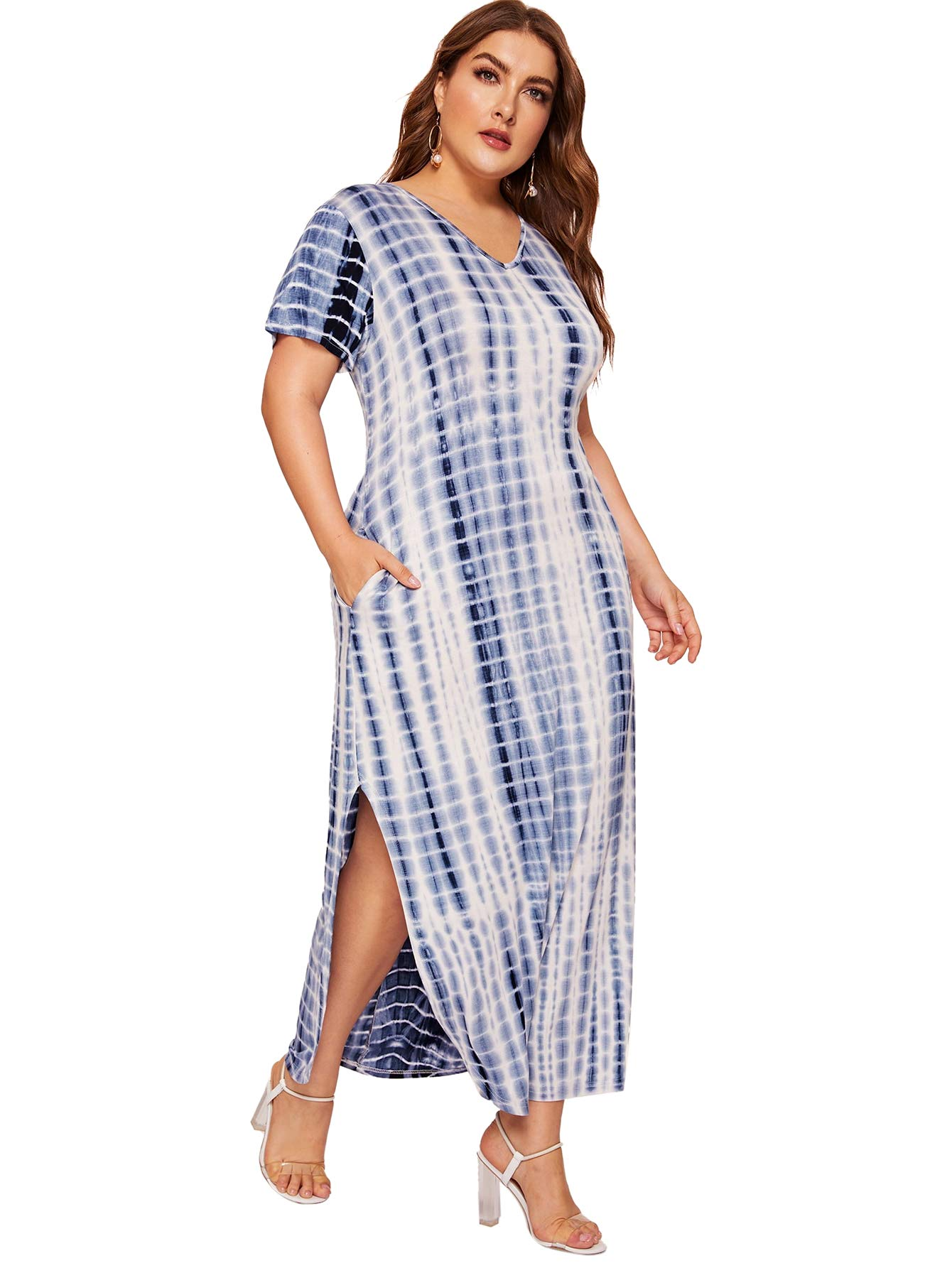 a2b1d8f2d Romwe Women's Plus Size Tie Dye Split Maxi Dress with Pocket Blue 3XL