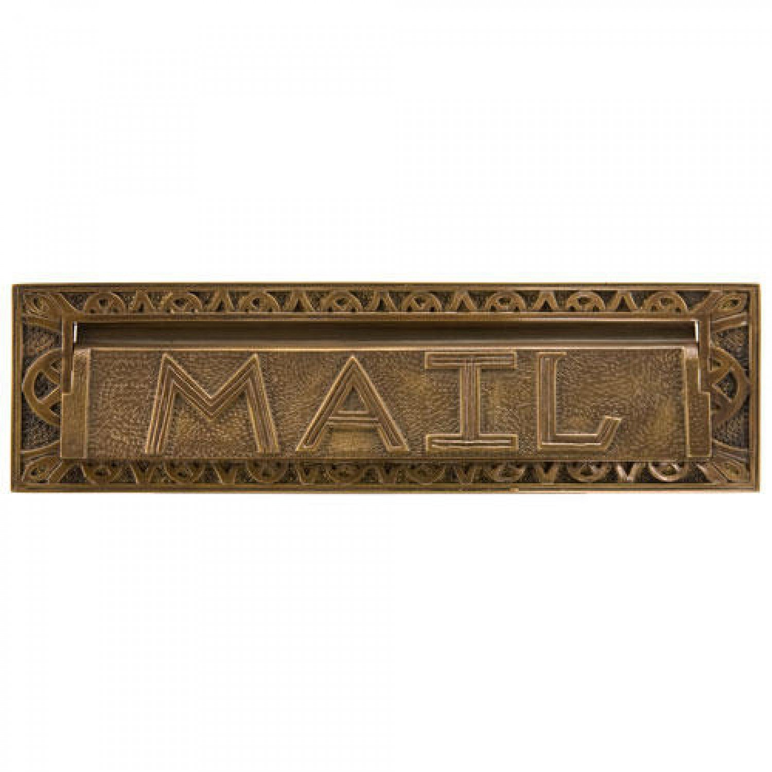 Naiture 13'' Classic Heavy Duty''Mail'' Letter Slot in Antique Brass Finish