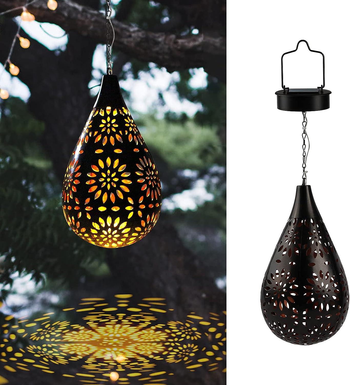 Hanging Solar Lights Outdoor Solar Lantern Boho LED Flower Waterproof Garden Lights, Outdoor Decoration Lights for Patio, Yard, Lawn, Pathway