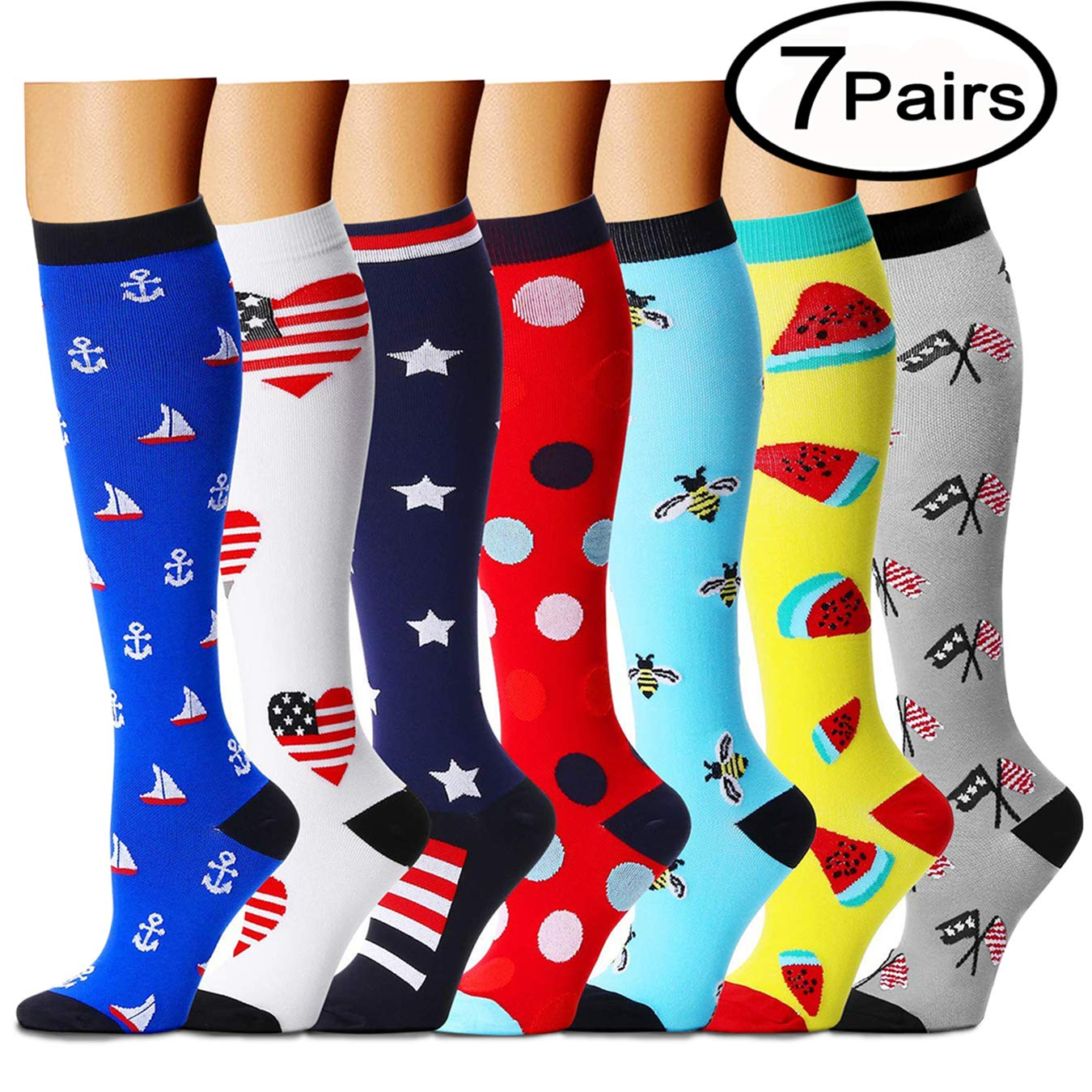 QUXIANG Copper Compression Socks for Women and Men - Best Medical, Nursing, Running, Athletic, Edema, Diabetic, Varicose Veins, Travel, Pregnancy & Maternity 15-20 mmHg (Small/Medium, Multicolour 05)