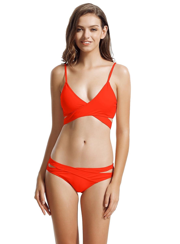 2b90064896897 zeraca Women's Sexy Cutout Bottoms Wrap Bikini Bathing Suits: Amazon.ca:  Clothing & Accessories