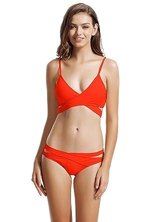 ba8715415f1b6 Zeraca Women s Sexy Cutout bottoms Wrap Bikini Bathing Suits  Amazon ...