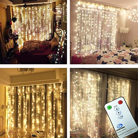Superb 3M*3M/9.8ft*9.8ft Curtain String Lights With Remote Control LED