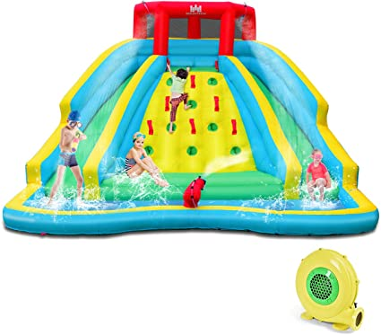 Amazon Com Bountech Inflatable Double Slide Bounce House Kids Splash Pool Water Slide W Climbing Wall Water Cannon Splash Pool Including Carry Bag Repairing Kit Stakes Hose With 750w Air Blower Sports Outdoors