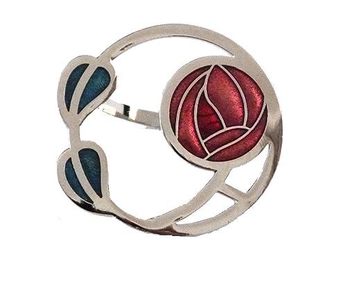 Rennie Macintosh Glasgow rojo rosa y dos diseño de hojas bufanda anillo en caja de presentación