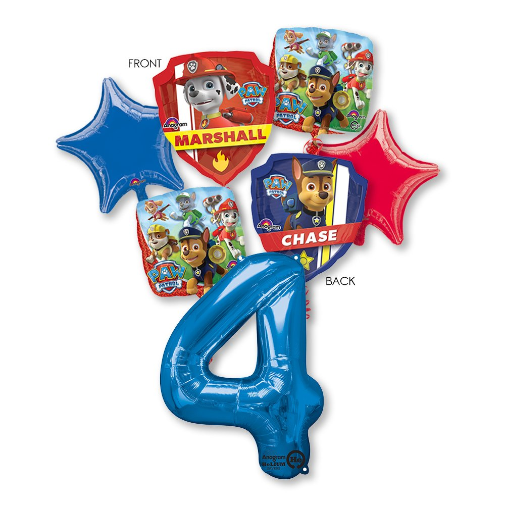 Amazon PAW PATROL 4TH BIRTHDAY BALLOONS WITH MINI SHAPE PARTY BOUQUET DECORATIONS CHASE MARSHALL Toys Games