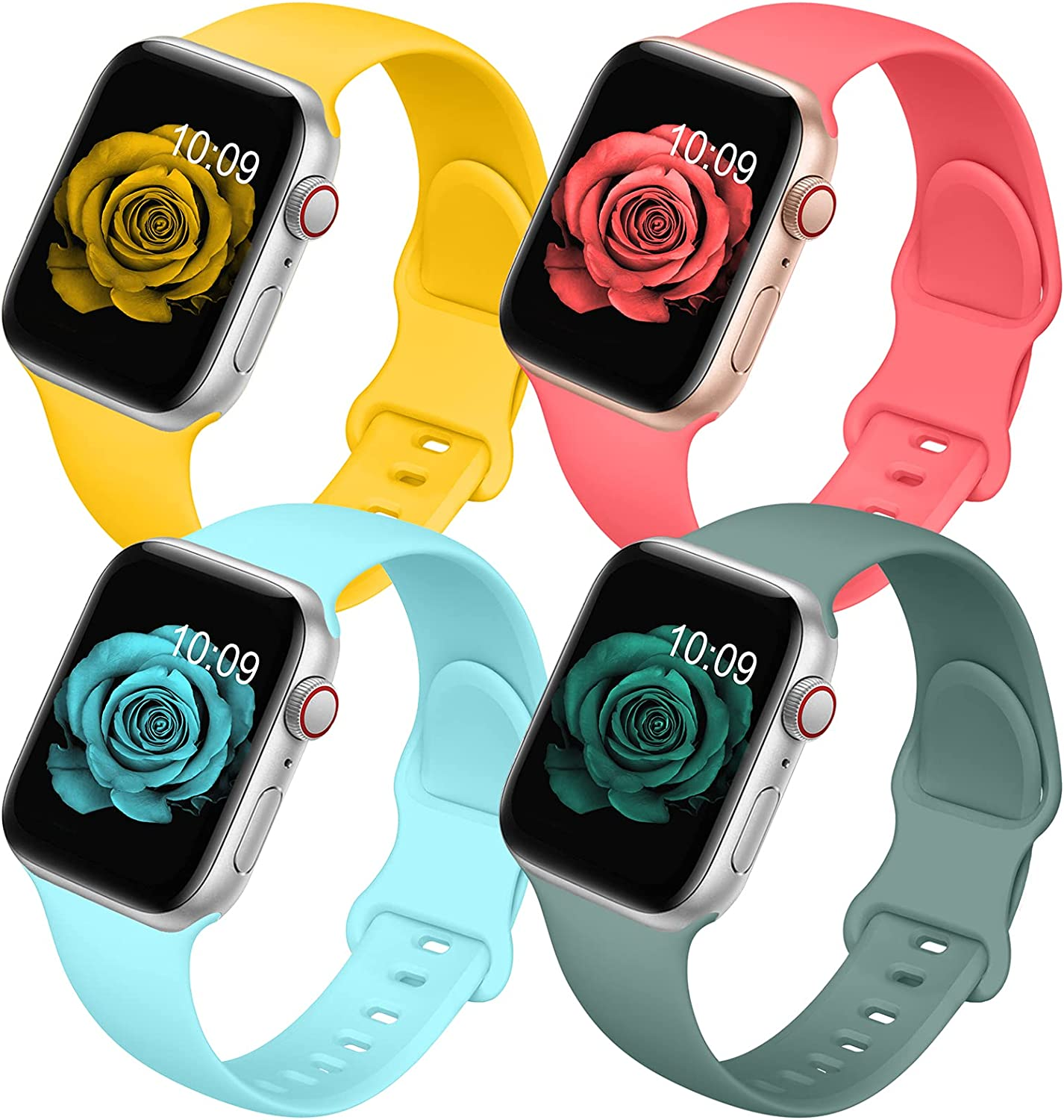 4 Pack Bands Compatible with Apple Watch Band 38mm 40mm 42mm 44mm for Women Men, Soft Silicone Sport Replacement Watch Strap for iwatch Series SE/ 6/5/4/3/2/1 Yellow/Sky Blue/Rose/Pine Green