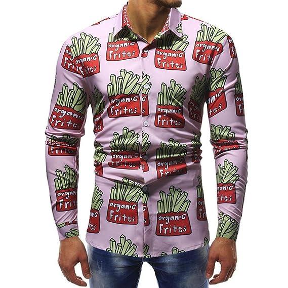 Resplend Blusa Impresa orgánica de los frites de la Manera de los Hombres Ocasionales de la Manga Larga Camisas de Las Tapas Delgadas: Amazon.es: Ropa y ...