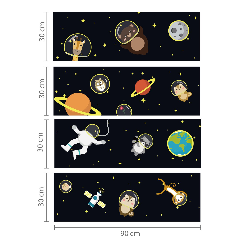 Multi-Colour UJ-9Z74-D6UM WALPLUS Removable Self-Adhesive Wall Stickers Sleep Glow in Dark Mural Art Decals Vinyl Home Decoration DIY Living Bedroom D/écor Wallpaper Kids Room Gift 4pcs 30cmx90cm
