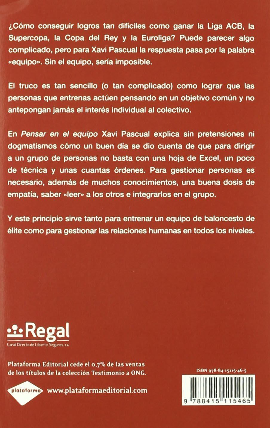 Pensar En El Equipo (Testimonio (plataforma)): Amazon.es: Pascual ...