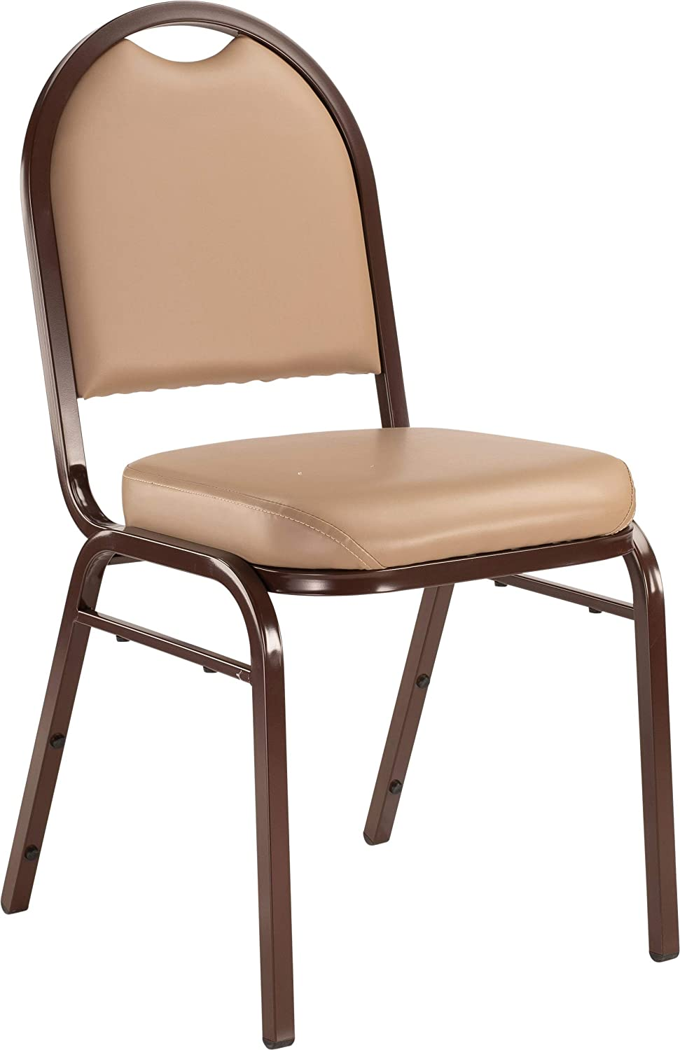 """NPS 9201-M Vinyl-upholstered Dome Back Stack Chair with Steel Mocha Frame, 300-lb Weight Capacity, 18"""" Length x 20"""" Width x 34"""" Height, Beige"""