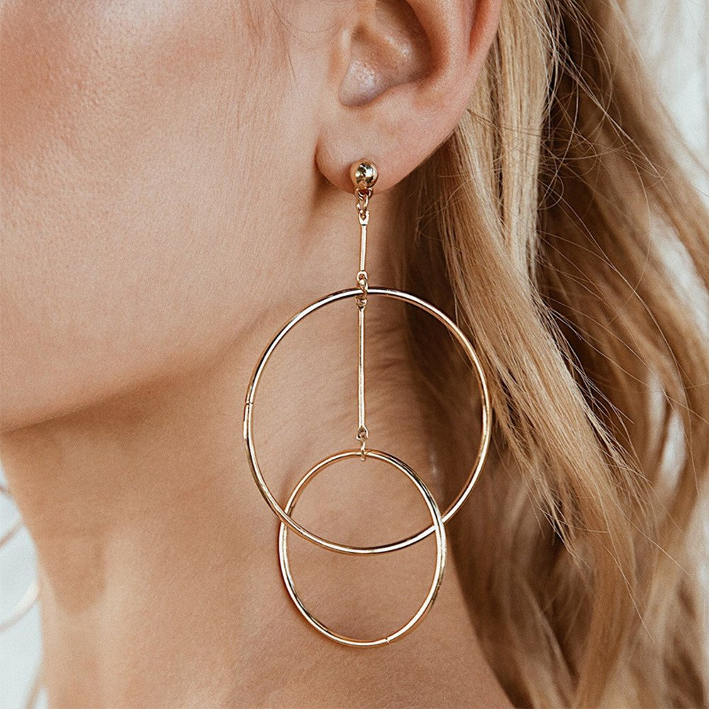 Thin Round Large Pendant Ring Hoop Earrings Simple Openwork Metal Round Personality European and American Trend Earrings Ms