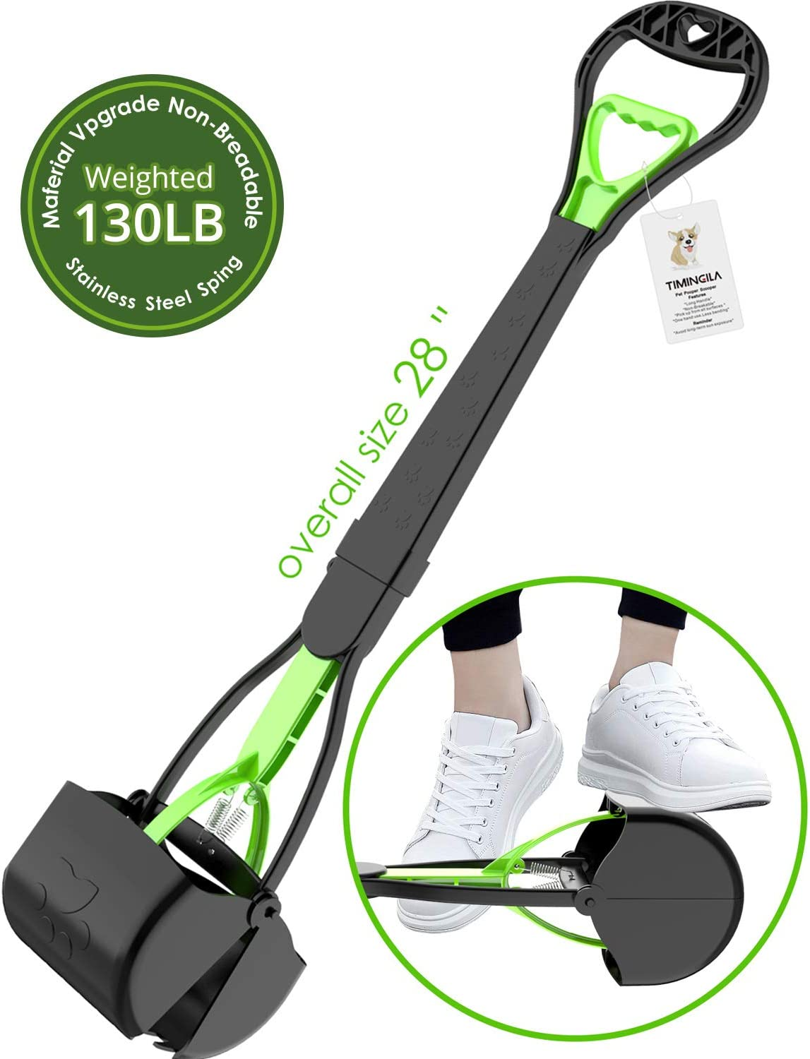 """TIMINGILA 28"""" Long Handle Pet Pooper Scooper for Dogs and Cats with High Strength Material and Durable Spring Easy to Use for Grass, Dirt, Gravel Pick Up"""