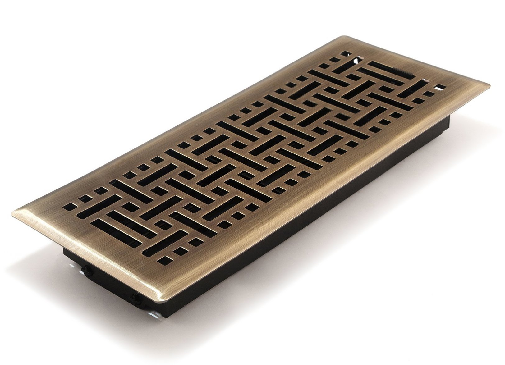 Accord AMFRABB412 Floor Register with Wicker Design, 4-Inch x 12-Inch(Duct Opening Measurements), Antique Brass