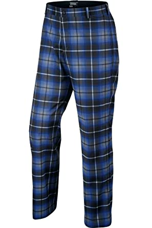 Nike Men's Plaid Flat Front Pants Golf Tartan Trousers (Royal Blue/Black /Anthracite