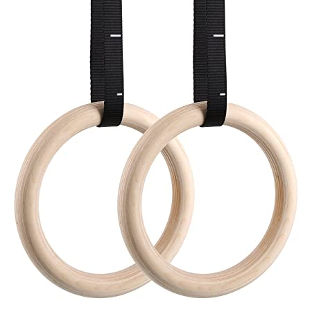 Femor Gym Rings, Wood Gymnastic Rings With Adjustable Straps, Heavy Duty Gym Equipment For Cross Training Workout, Strength Training, Gymnastics, Fitness, Pull Ups And Dips (Set Of 2) by Femor