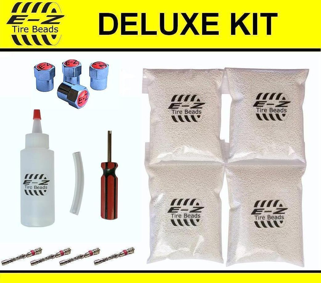 E-Z Tire Balance Beads Deluxe Kit Light Truck 6 oz Four-Pack (4 bags of 6 oz Balancing Beads) 24 Ounces Total, Applicator Kit, Filtered Valve Cores, Red Caps E-Z Tire Beads TBDK6-4