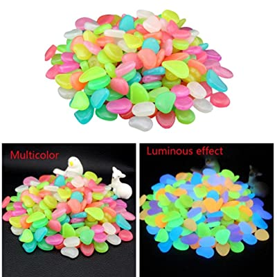 Makaor 100PC Glow in Dark Pebbles Stone for Home Garden Walkway Aquarium Fish Tank Valentine Decorations (100 Pcs Size as Cooked Lima Beans, Multicolor) : Garden & Outdoor