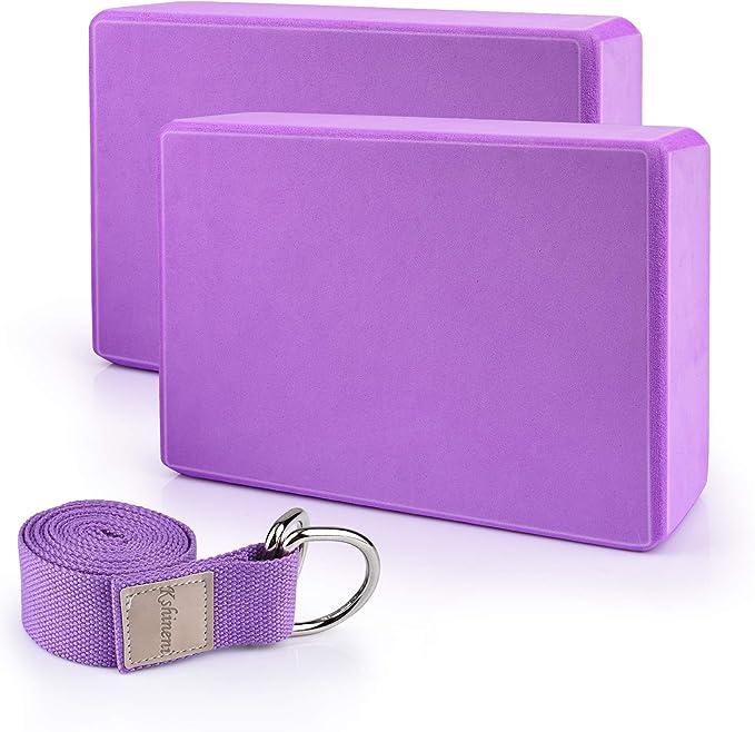 Yoga Strap for Stretching High Density Foam Yoga Brick DAZISEN Yoga Blocks and Strap