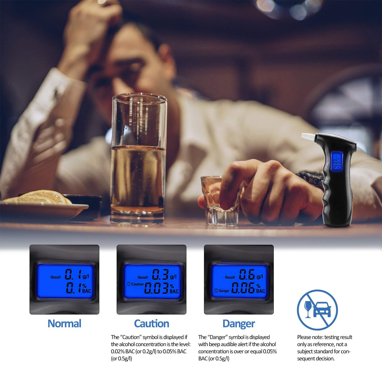 TABIGER Alkoholtester Tragbarer Promille Tester Polizeigenau Alkoholmessger/äte Akkurater Halbleiter Sensor Atemalkoholmessger/ät LED Anzeige promilletester mit 5 Mundst/ücken