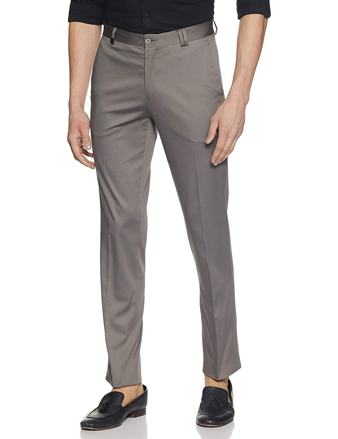John Players Men's Straight Fit Formal Trousers