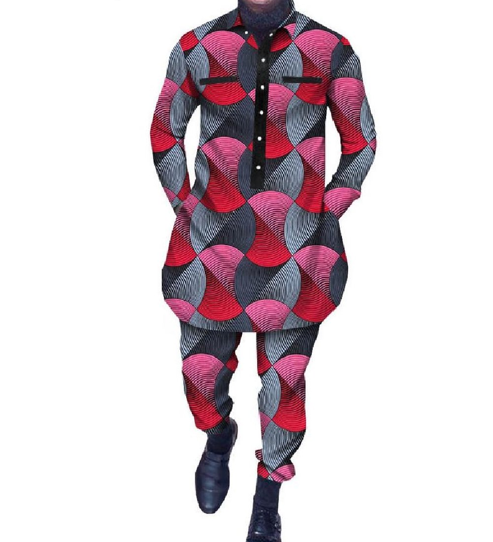 Vska Men's Africa Casual Batik Dashiki Print Shirt Pullover Business Suit 11 2XL