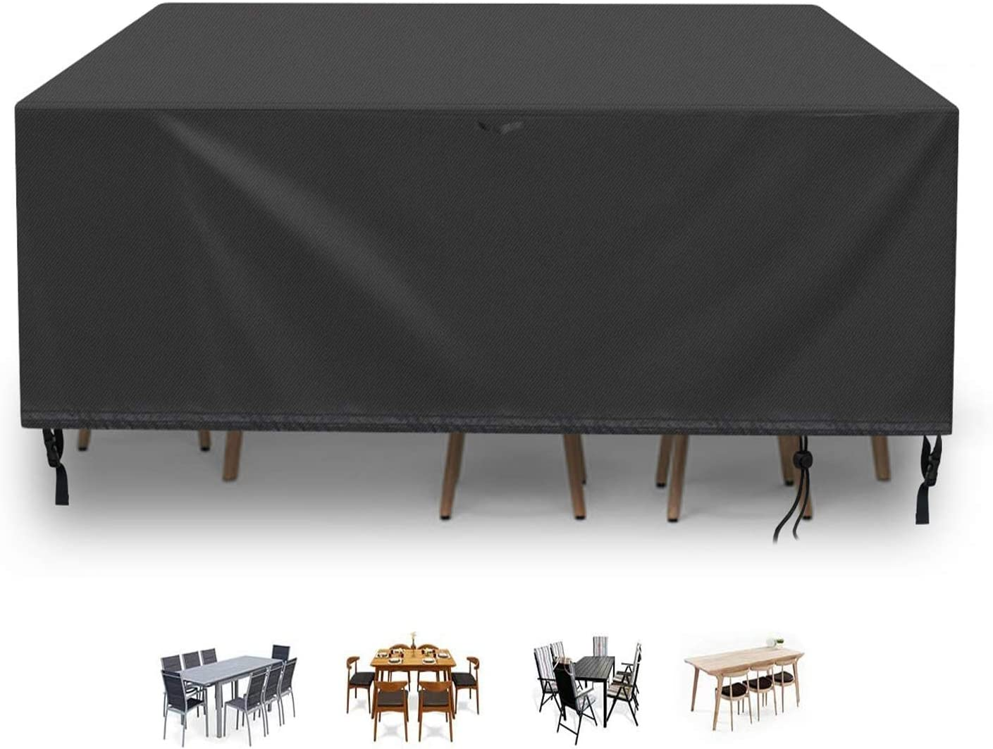 POMER Patio Furniture Cover, 84x52x29inch Waterproof and Anti-Fade Patio Table and Chairs Cover for Rectangular/Oval Table & Chair Set