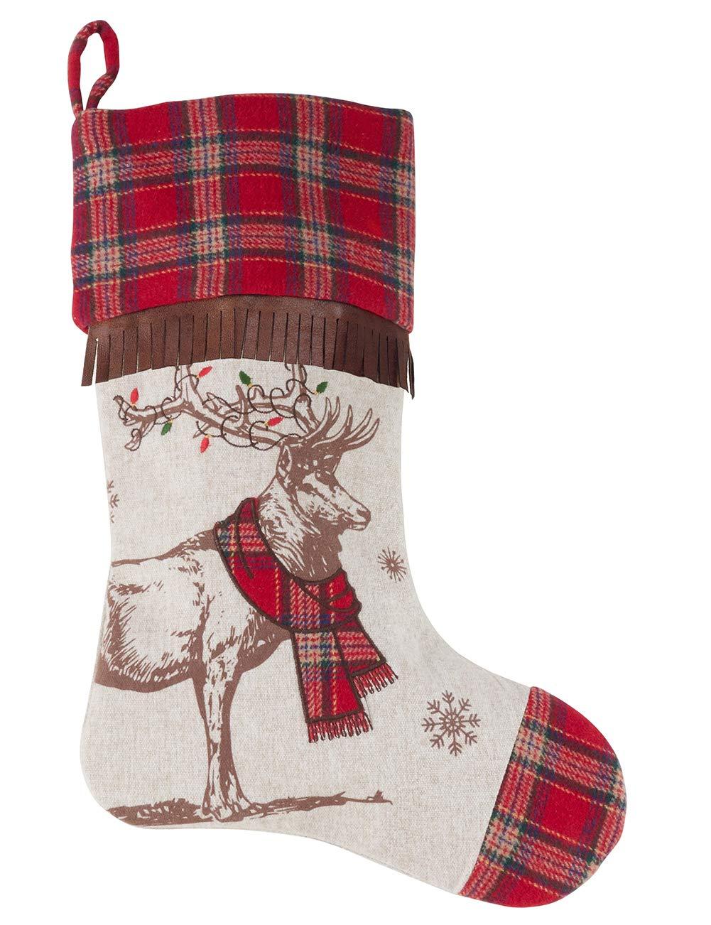 Fennco Styles Classic Holiday Reindeer Christmas Stocking Holder with Fringe, 16''x20''