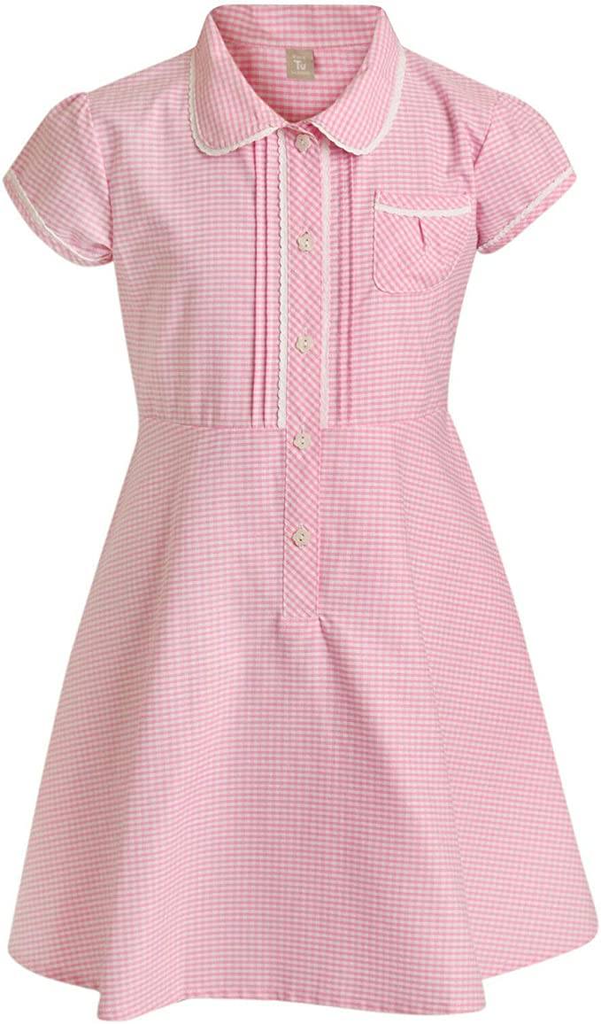 Paradise Girls School Gingham Dress Summer School Uniform Pleated Zip UP 5-16 Years New